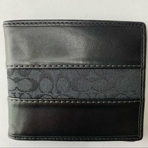 Men's Coach Black Signature Bi-Fold Wallet
